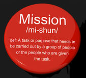 Mission Definition Button Showing Task Goal Or Assignment To Be — Stock Photo