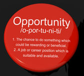 Opportunity Definition Button Showing Chance Possibility Or Care — Stock Photo