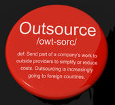 Outsource Definition Button Showing Subcontracting Suppliers And — Foto de Stock
