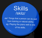 Skills Definition Button Showing Aptitude Ability And Competence — Stock Photo