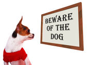 Beware Of The Dog Sign Showing Protection And Warning — ストック写真