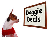 Doggie Deals Sign Showing Dog Bargains Deals And Clearance — Stock Photo