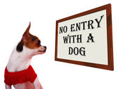 No Entry With A Dog Sign Showing Dogs Unauthorized — Stock Photo