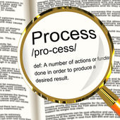 Process Definition Magnified Showing Result From Actions Or Func — Stock Photo