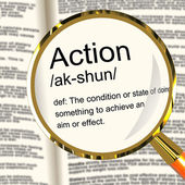 Action Definition Magnifier Showing Acting Or Proactive — Stock Photo