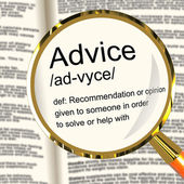 Advice Definition Magnifier Showing Recommendation Help And Supp — Stock Photo