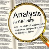 Analiza definicji lupa wyświetlone dociekliwe badania lub badania — Zdjęcie stockowe