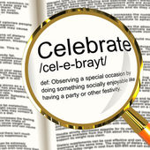 Celebrate Definition Magnifier Showing Party Festivity Or Event — Stock Photo