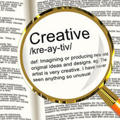 Creative Definition Magnifier Showing Original Ideas Or Artistic — Stock Photo