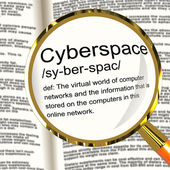 Cyberspace Definition Magnifier Showing Virtual World Of Online — Stock Photo
