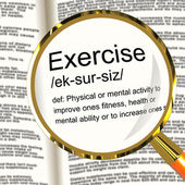 Exercise Definition Magnifier Showing Fitness Activity And Worki — Stock Photo