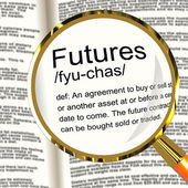 Futures Definition Magnifier Showing Advance Contract To Buy Or — Stock Photo