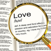 Love Definition Magnifier Showing Loving Valentines And Affectio — Stock Photo