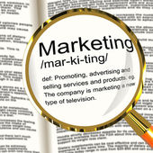 Marketing Definition Magnifier Showing Promotion Sales And Adver — Stock Photo