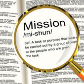 Mission Definition Magnifier Showing Task Goal Or Assignment To — Stock Photo