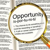 Opportunity Definition Magnifier Showing Chance Possibility Or C — Stock Photo