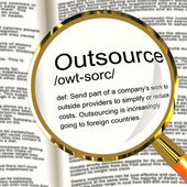 Outsource Definition Magnifier Showing Subcontracting Suppliers — Stockfoto