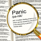 Panic Definition Magnifier Showing Trauma Stress And Hysteria — Stock Photo