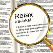 Relax Definition Magnifier Showing Less Stress And Tense — Stock Photo