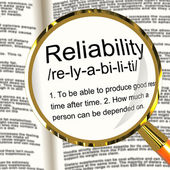 Reliability Definition Magnifier Showing Trust Quality And Depen — Stock Photo