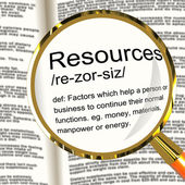 Resources Definition Magnifier Showing Materials Assets And Manp — Stock Photo