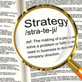 Strategy Definition Magnifier Showing Planning Organization And — Stock Photo