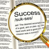 Success Definition Magnifier Showing Achievements Or Attainment — Stock Photo