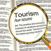 Tourism Definition Magnifier Showing Traveling Vacations And Hol — Stock Photo