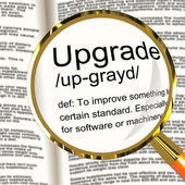 Upgrade Definition Magnifier Showing Software Update Or Installa — Stock Photo