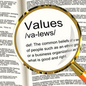 Values Definition Magnifier Showing Principles Virtue And Morali — Foto de Stock