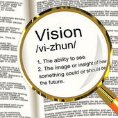Vision Definition Magnifier Showing Eyesight Or Future Goals — Stock Photo