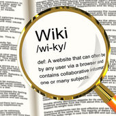 Wiki Definition Magnifier Showing Online Collaborative Community — Stock Photo