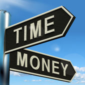 Time Money Signpost Showing Hours Are More Important Than Wealth — Stock Photo