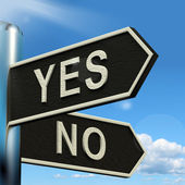 Yes No Signpost Showing Indecision Choosing And Dilemma — Stock Photo