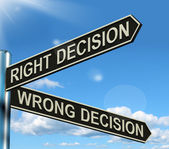Right Or Wrong Decision Signpost Showing Confusion Outcome And C — Stock Photo
