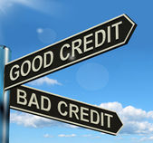 Good Bad Credit Signpost Showing Customer Financial Rating — Stock Photo