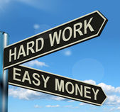 Hard Work Easy Money Signpost Showing Business Profits — Stockfoto