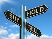 Buy Hold And Sell Signpost Representing Stocks Strategy — Stock Photo