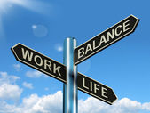Work Life Balance Signpost Showing Career And Leisure Harmony — Стоковое фото