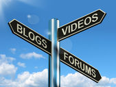 Blogs Videos Forums Signpost Showing Online Social Media — Stock Photo