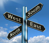 North East South West Signpost Shows Travel Or Direction — Stock Photo