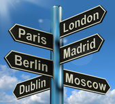 London Paris Madrid Berlin Signpost Showing Europe Travel Touris — Stok fotoğraf
