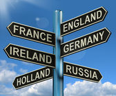 England France Germany Ireland Signpost Showing Europe Travel To — Stock Photo