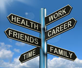 Health Work Career Friends Signpost Showing Life And Lifestyle B — Foto de Stock