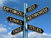 Seo optimaliseren trefwoorden verwijzigingen wegwijzer toont website marketing opt — Stockfoto