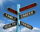 Life Balance Signpost Shows Family Career Health And Friends — Stock Photo