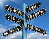 Europe Asia America Africa Antartica Australia Signpost Showing — Stock Photo