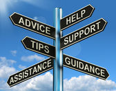 Advice Help Support And Tips Signpost Showing Information And Gu — Stock Photo