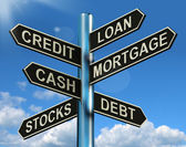 Credit Loan Mortgage Signpost Showing Borrowing Finance And Debt — Stock Photo