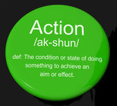 Action Definition Button Showing Acting Or Proactive — Stock Photo